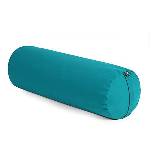 Yoga Studio Yoga Bolster | Alforfón orgánico europeo | (certificado GOTS) | Funda extraíble lavable (azul cielo)