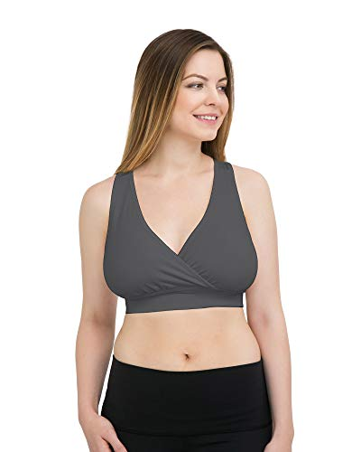 Kindred Bravely French Terry Racerback Busty Nursing Sleep Bra for E, F, G, H, I Cup | Maternity Bra for Breastfeeding (XX-Large-Busty, Grey)
