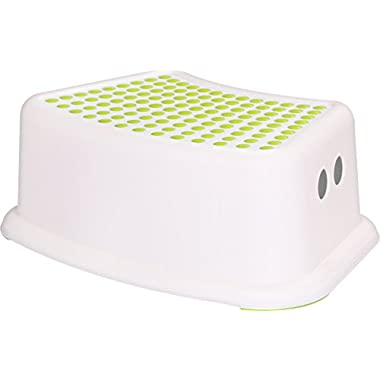Portable Kids Step Stool - White and Green - Plastic Stool - Lightweight & Easy To Clean Plastic - by Utopia Home