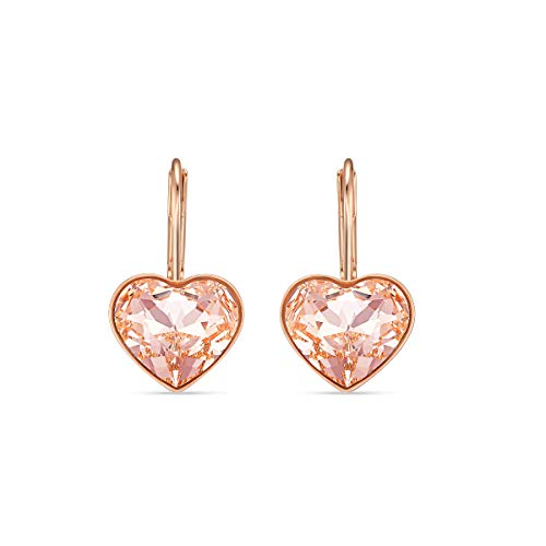 Swarovski Bella Heart Drop Pierced Earrings, with Pink Crystals and Rose-Gold Tone Plated Setting, a Part of the Bella Collection
