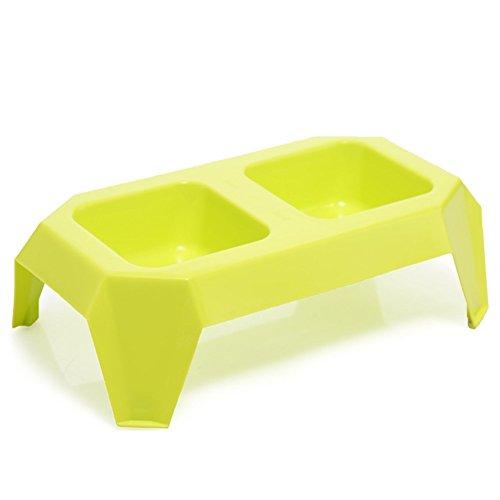 Pet Online Pet plástico Bowl verde para el gato y el perro elevado de plato / Bowl, 33 * 18.8 * 9.6cm, verde
