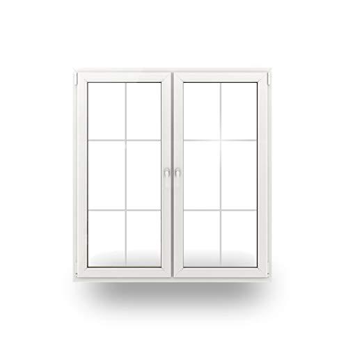 JeCo Balkontür Terrassentür Tür - 2-Flügler Sprossen 6 Felder - 1200 x 2000mm - 2-Fach-Verglasung - 60mm Rahmen - Sondermaße möglich