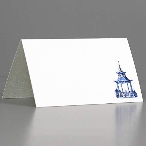 Nancy Nikko Tischkarten – Blau und Weiß Pavillon-Pagode für Hochzeiten, Duschen und Dinner-Partys – Tischzelt-Stil, gekerbt für einfaches Zusammenfalten Erhältlich in Packungen mit 12/25/50 (12)