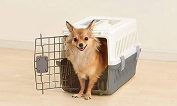 Iris Ohyama, Caisse de transport / cage transport, porte amovible avec 2 sens d'ouverture, emboîtable, bol inclus, pour chat & chien max 12 kg - Air Travel Carry ATC-530 - Gris