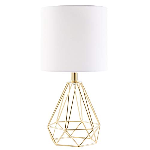 CO-Z Modern Table Lamp with White Fabric Shade, Gold Desk Lamp with Hollowed Out Base for Living Room Bedroom Dining Room