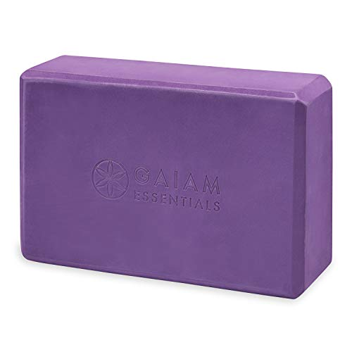 Gaiam Essentials Yoga Brick   Sold as Single Block   EVA Foam Block Accessories for Yoga, Meditation, Pilates, Stretching (Purple)