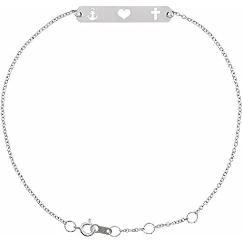Pulsera de plata de ley 925 de 25 x 4,5 mm, 6 1/2 7 1/2 pulgadas pulida Faith Love Hope Bar Joyería Regalos para mujeres