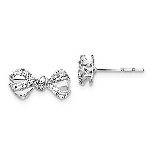 13mm 14ct White Gold Diamond Bow Post Earrings Jewelry Gifts for Women