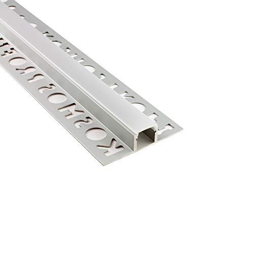 LED Aluprofil T77 Bordüre 10mm silber Fliesenprofil + Abdeckung Fliesen für LED-Streifen-Strip 1m milky