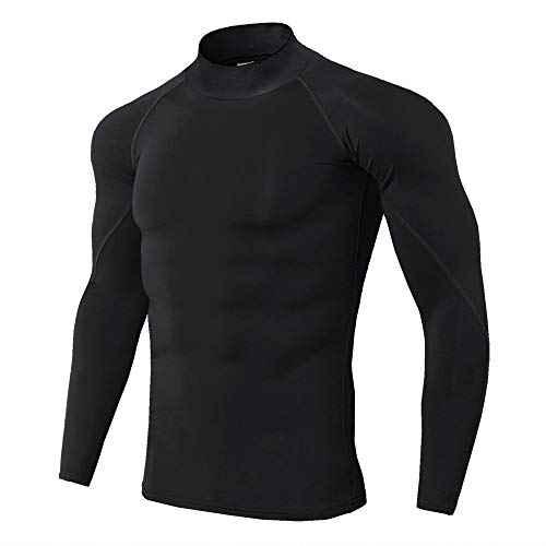 Jack Cordee Men's high Collar Running Fitness t-Shirt Long Sleeve Sports Compression Shirt (Small, Black)