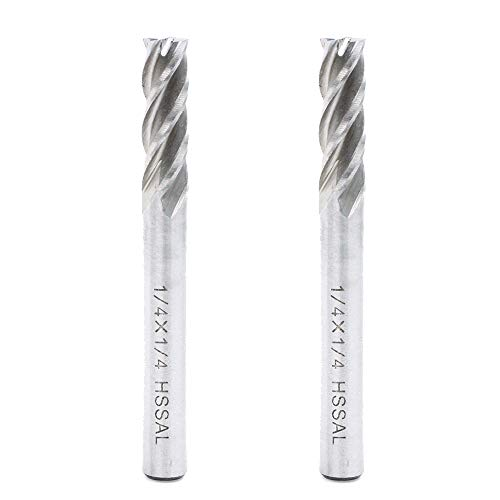 AUTOTOOLHOME 1/4 inch HSS 4 Flutes End Mills Milling Cutter End Drill Bit Straight Shank Pack of 2