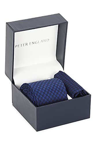 Peter England Blue Tie and Pocket Square, Free Size