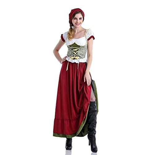 Costume da Donna dell'Oktoberfest, Uniformi contadine da Cameriera della Birra Costume da Ragazza della Birra dell'Oktoberfest Vestito Lungo Operato da Cosplay di Halloween