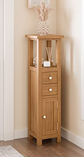 Hallowood Waverly Compact Small Solid Wooden Bathroom Cupboard/Tower/Cabinet/Bedside/Telephone Console Hallway Table Fully Built, Light Oak, WAV-CUP940