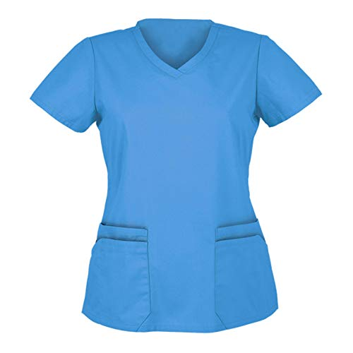 Bluse Hemd Frauen Kurzarm V-Ausschnitt Tops Working Uniform Solid Color (L,5Hellblau)