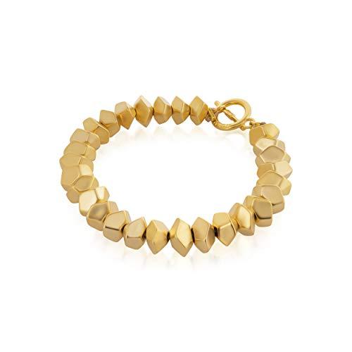 NIEVOS JEWELRY Pulsera chapada en oro de 24 quilates, delicada, chapada en oro de 24 quilates, delicada y de moda para su diseñadora, hecha a mano