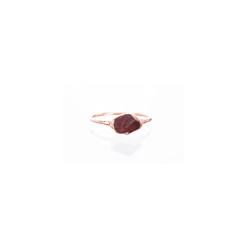 Raw Garnet Ring, Rose Gold, January Birthstone