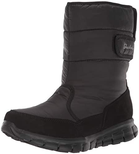 Skechers Women s Synergy Mid Quilted Nylon and Microfiber Boot Snow Black Black 7 5 M US product image