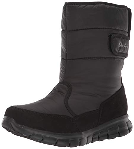 Skechers Women's Synergy-Mid Quilted Nylon and Microfiber Boot Snow, Black/Black, 5 M US