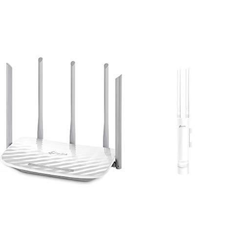 TP-Link Archer C60 Router Inalámbrico AC1350, Banda Dual 5GHz/2GHz, MU-MIMO 2x2 + EAP110-Outdoor Punto de Acceso (inalámbrico, para Exteriores, Resistente al Agua