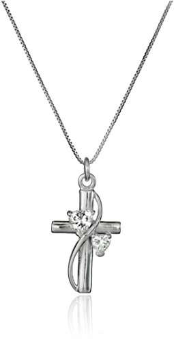 "Sterling Silver Cubic Zirconia ""Faith Hope Love"" Cross Pendant Necklace, 18"""