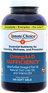 Omega 3, Fish Oil Capsules, OmegA+D By Innate Choice, Lemon 240 Capsules, Pharmaceutical Grade Fish Oil, 3rd Party Tested,...