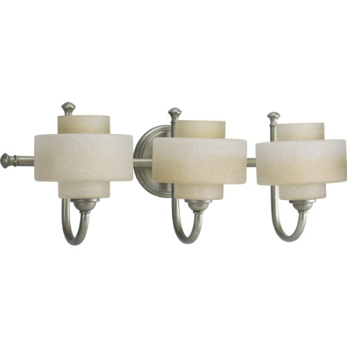 Progress Lighting P2887-134WB Ashbury Three Light Bath Vanity, Silver Ridge Finish with White Linen Glass