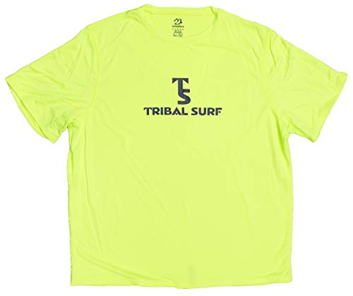 Tribal Surf Men's Short Sleeve Loose-fit Fast Dry Rash Guard (Green, Small)