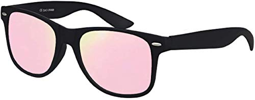 Balinco Hochwertige UV400 CAT 3 CE Nerd Sonnenbrille matte Rubber Retro Vintage Unisex Brille mit Federscharnier für Herren und Damen - 100 verschiedene Farben/Modelle wählbar (Schwarz - Rosé/Pink)
