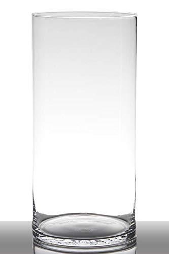 INNA-Glas Jarrón de Suelo Sansa, cilíndrico - Redondo, Transparente, 40cm, Ø 19cm - Florero de Cristal - Jarrón de pie