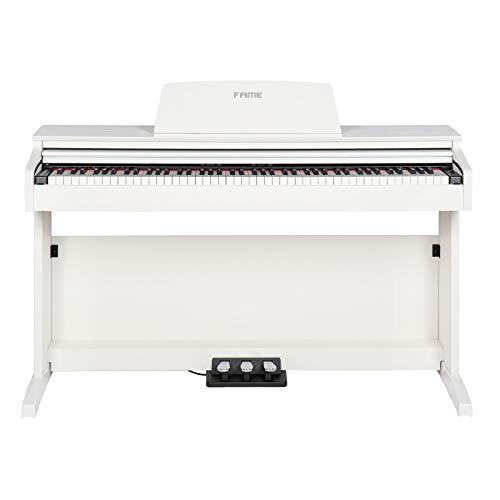 Fame DP-2000 WH Digital Piano matt weiß (Elektronisches Klavier für Einsteiger mit Hammermechanik, 88 Tasten, 3 Pedale & Kopfhörer-Anschluss)