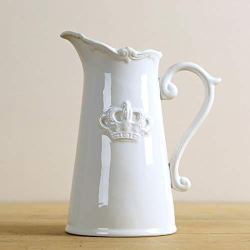 CWENROU Sculpture Statue - Retro Ceramic Jug Style Vase Decoration Porcelain White Crown Pot Art And Craft Decoration Accessories Furniture Fashion White Elegant Garden Decoration Gift