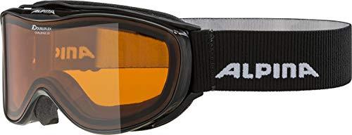 ALPINA CHALLENGE 2.0 Skibrille, Unisex– Erwachsene, black transparent, one size