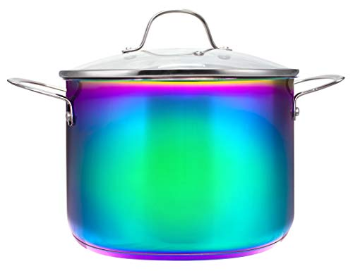 Iridescent Rainbow Titanium 8-Quart Stock Pot With Handles