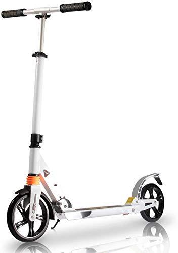 TENBOOM Patinete para adultos, gran rueda, 8 años, plegable, urbano, con frenos traseros y correa, dos amortiguadores