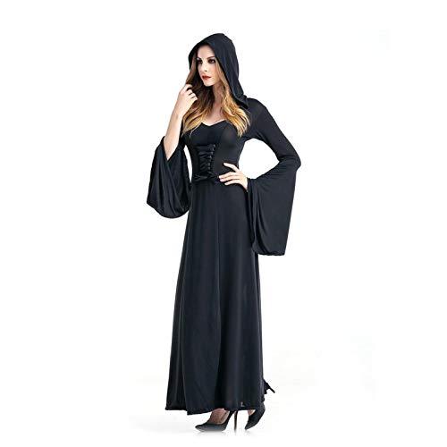 Luoyu Vestido de Bruja de Halloween para Adultos - Fiesta de Navidad Magic Devil Cosplay Disfraz Disfraz Capa Negro Vampiro Grim Reaper Costume