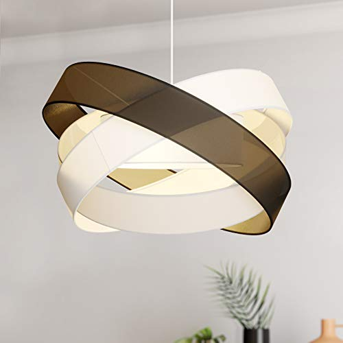 Lámpara colgante 'Simaria' (Moderno) en Negro hecho de Textura, Tela, Tejido, Seda e.o. para Salón & Comedor (3 llamas, E27, A++) de Lindby | lámpara colgante textil, plafón, lámpara de techo textil