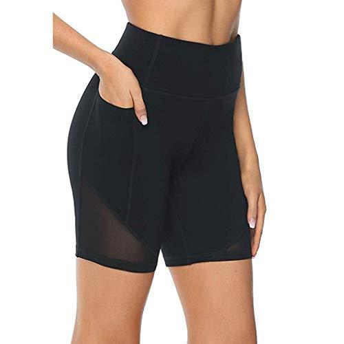 MORCHAN Femmes Stretch Taille Haute Yoga Legging Fitness Course à Pied Gym Shorts de Sport(Noir/Large)