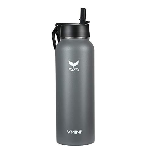 Vmini Borraccia con cannuccia, manico largo e girevole, bottiglia d'acqua in acciaio inox, con manico largo, 1134 g, colore grigio sfumato