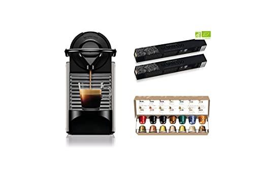 Krups Nespresso Pixie titane + 34 capsules Nespresso offertes, Machine à café 0,7 L, Café filtre Espresso, Cafetière, Capsule de café, Espresso, Style Barista YY4799FD