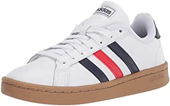 adidas mens Grand Court Tennis Shoe, White/Trace Blue/Active Red, 8.5 US