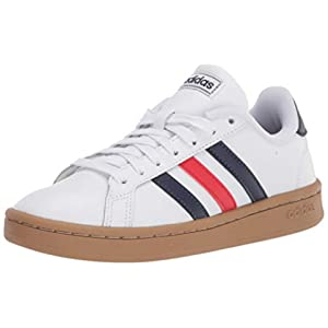adidas mens Grand Court Tennis Shoe, White/Trace Blue/Active Red, 10.5 US