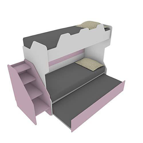 SMARTR Litera con tercera cama extraíble y elevable, 80 x 190 cm, fabricada en Italia, color blanco y ciruela