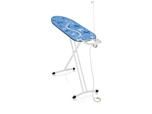 Leifheit Air Board M Solid Plus - Tabla de planchar de plástico, color azul/blanco