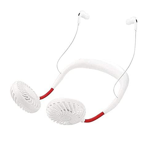 ZUIZUI Ventilador para colgar en el cuello, ventilador de manos libres con auriculares Bluetooth, recargable por USB, 4 velocidades/360 grados de diseño de auriculares para el hogar