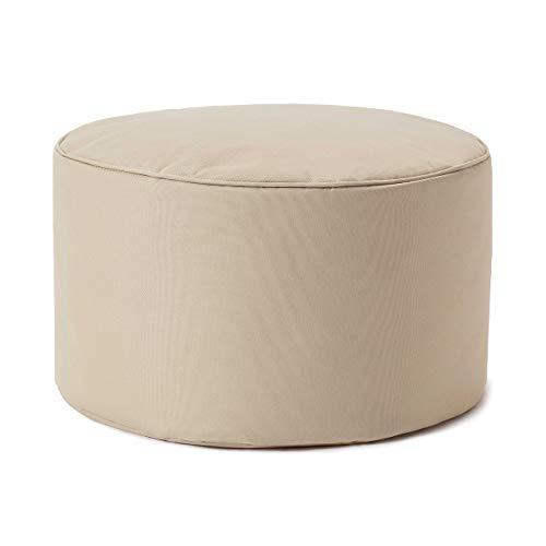 Lumaland Indoor Outdoor Sitzhocker 25 x 45 cm - Runder Sitzpouf, Sitzsack Bodenkissen, Sitzkissen, Bean Bag Pouf - Wasserabweisend - Pflegeleicht - ideal für Kinder und Erwachsene - Beige