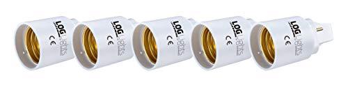 Lights of Germany G24-D G24D - Adaptador de rosca E27 de 2 pines para bombilla LED (5 unidades)