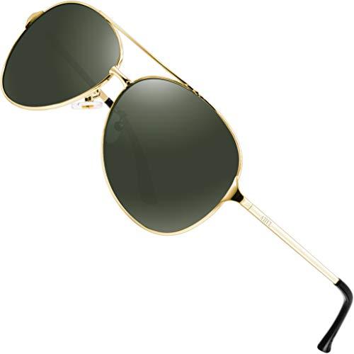 ATTCL Hombres Gafas De Sol Polarizadas Uv400 Súper Ligero Marco De Metal 8009-Gold