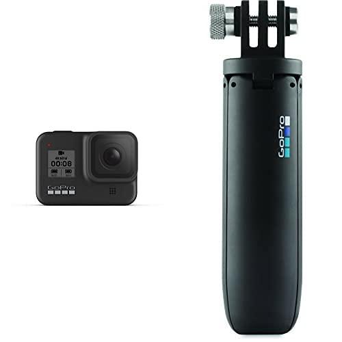 GoPro HERO8 Actioncam, Black - wasserdichte 4K-Digitalkamera mit Hypersmooth-Stabilisierung, Touchscreen und Sprachsteuerung - Live-HD-Streaming & Shorty Mini-Verlängerungsstange und Stativ schwarz