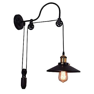 LLHZSY Industrial Wall Sconce Black Gooseneck Wall Light Fixture Vintage Adjustable Pulley Wheel Wall Lamp for Bedroom Restaurant Bar